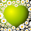 Stock Vector: Green heart made from flowers