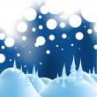 Winter christmas landscape — Stock Vector