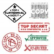 Top secret and other stamps - Stock Vector