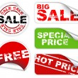 Set of labels badges and stickers for sale — Stock Vector