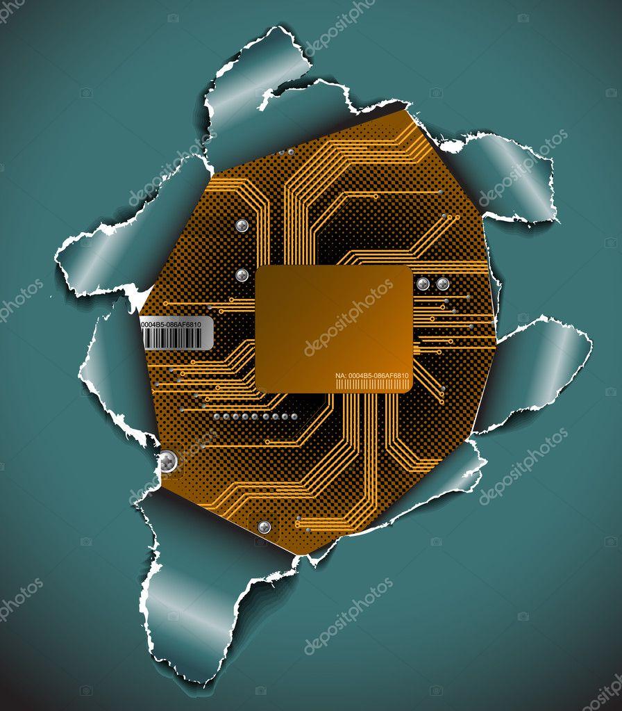 象的电子背景-绿色印刷电路板