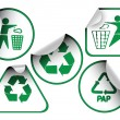 Set of green recycle labels — Stock Vector