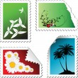 Stock Vector: Set of post stamps