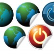 Labels with earth globe  — Stock Vector