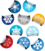 Round Labels with snowflakes — Stock Vector