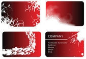 Set of red business cards — Stock Vector