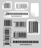 Set of labels with bar codes — Stock Vector