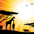 Africa or safari - silhouettes — Stockvectorbeeld