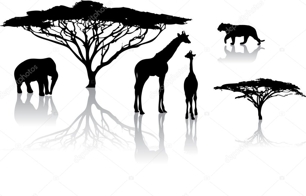 Silhouettes of animals from safari,  zoo — Vektorgrafik #7057101