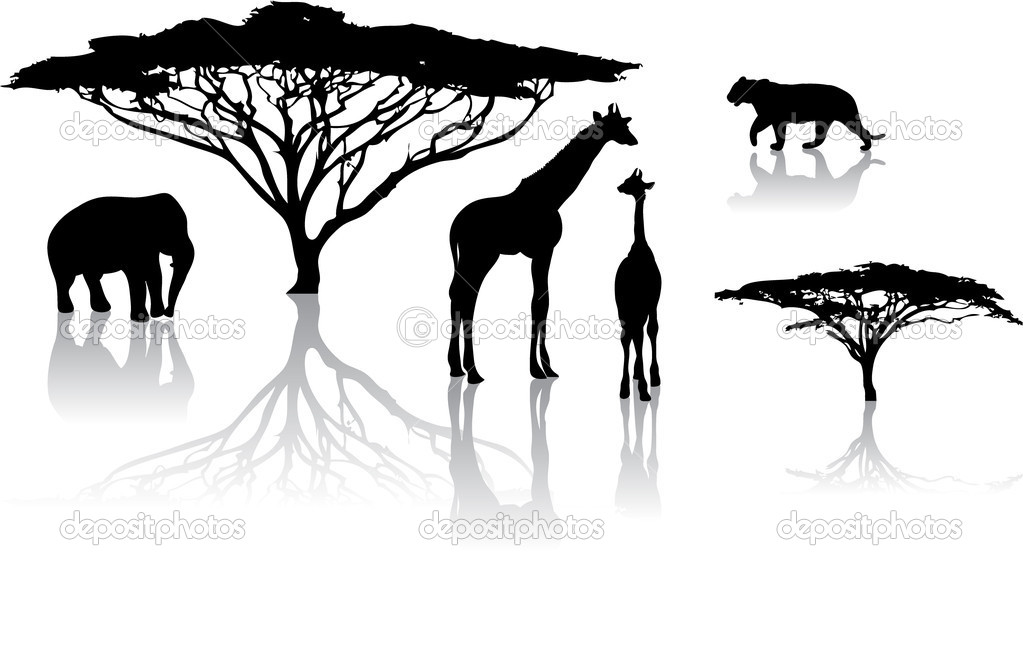 Silhouettes of animals from safari,  zoo  Stok Vektr #7057101