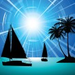 Yachts on the ocean - Stock Vector