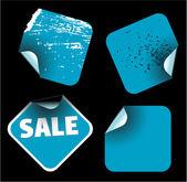 Etiquetas cuadradas azules — Vector de stock