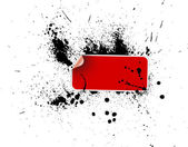 красный стикер на гранж — Cтоковый вектор