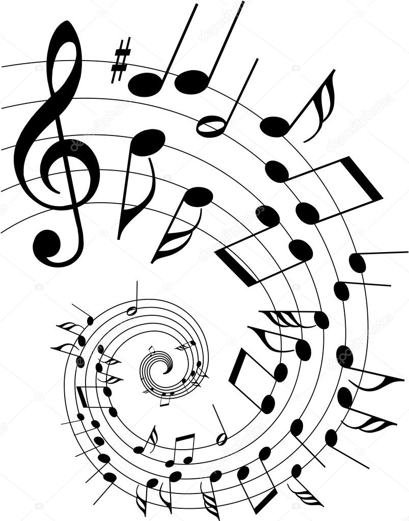 Music theme - spiral with various tones — Stock Vector #7062610