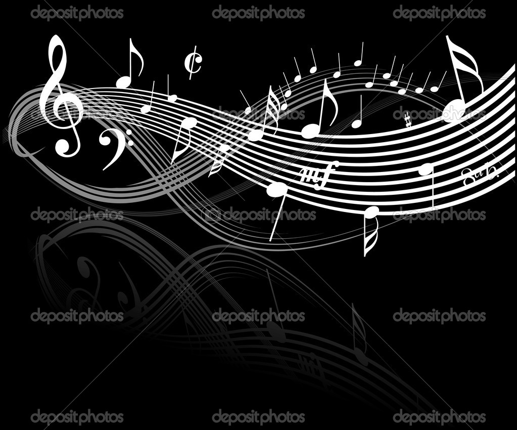 Music theme - white notes on black background — Stock Vector #7087209