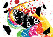 Grunge butterflies on a rainbow — Stock Vector