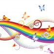Vector de stock : Rainbow with flowers and butterflies
