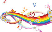 Rainbow with flowers and butterflies — Stockvector