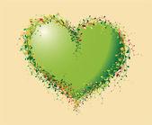 Corazón verde de flores — Vector de stock