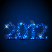 Vector blue New Year card 2012 — Stock Vector
