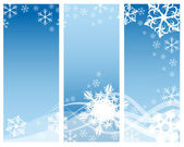 Abstract curves with snowflakes (three parts) — Stockvector