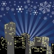 Silhouette of the christmas city — Stock Vector
