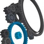 Various 3D cogwheels — Stock Vector