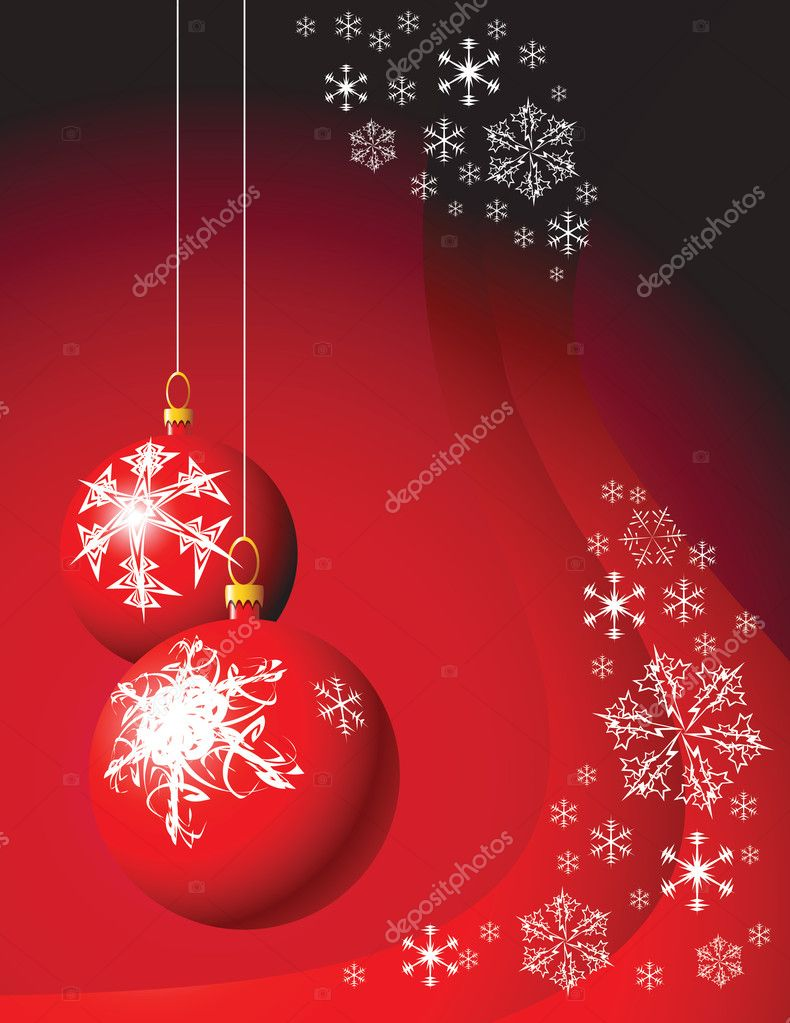 Christmas bulbs with snowflakes on red background — Stock Vector #7208538