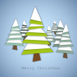 Simple vector christmas trees made from green and white paper — Stock Vector