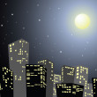 Silhouette of the city in the night — Stock Vector
