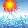 Really hot summer sun above the ocean - vector illustration - Stock Vector