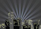 Silueta města v noci — Stock vektor