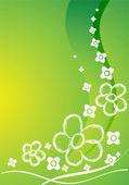 Groene kaart met bloemen — Stockvector