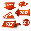 Vector 2012 Labels, stickers, pointers, tags - Stock Vector