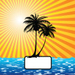 Sun, palm tree and the sea — Stock Vector