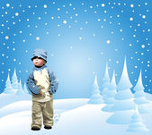 Small girl in the snow — Stock Vector