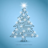 Vector christmas tree from digital electronic circuit — Stock Vector