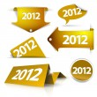 Vector golden 2012 Labels, stickers, pointers, tags - Stock Vector