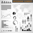 Vector Black and white set of Infographic elements — Stock Vector