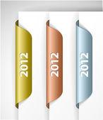 Vector metalic 2012 Labels or Stickers — Stock Vector
