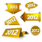 Vector golden 2012 Labels, stickers, pointers, tags — Stock Vector