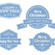 Set of blue vintage retro Christmas labels — Stock Vector