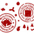 Red Christmas Vector stamps — Stock Vector