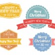 Set of colorful vintage retro Christmas labels — Stock Vector