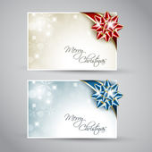 Set of vector christmas or New Year cards with ribbon — Stock Vector