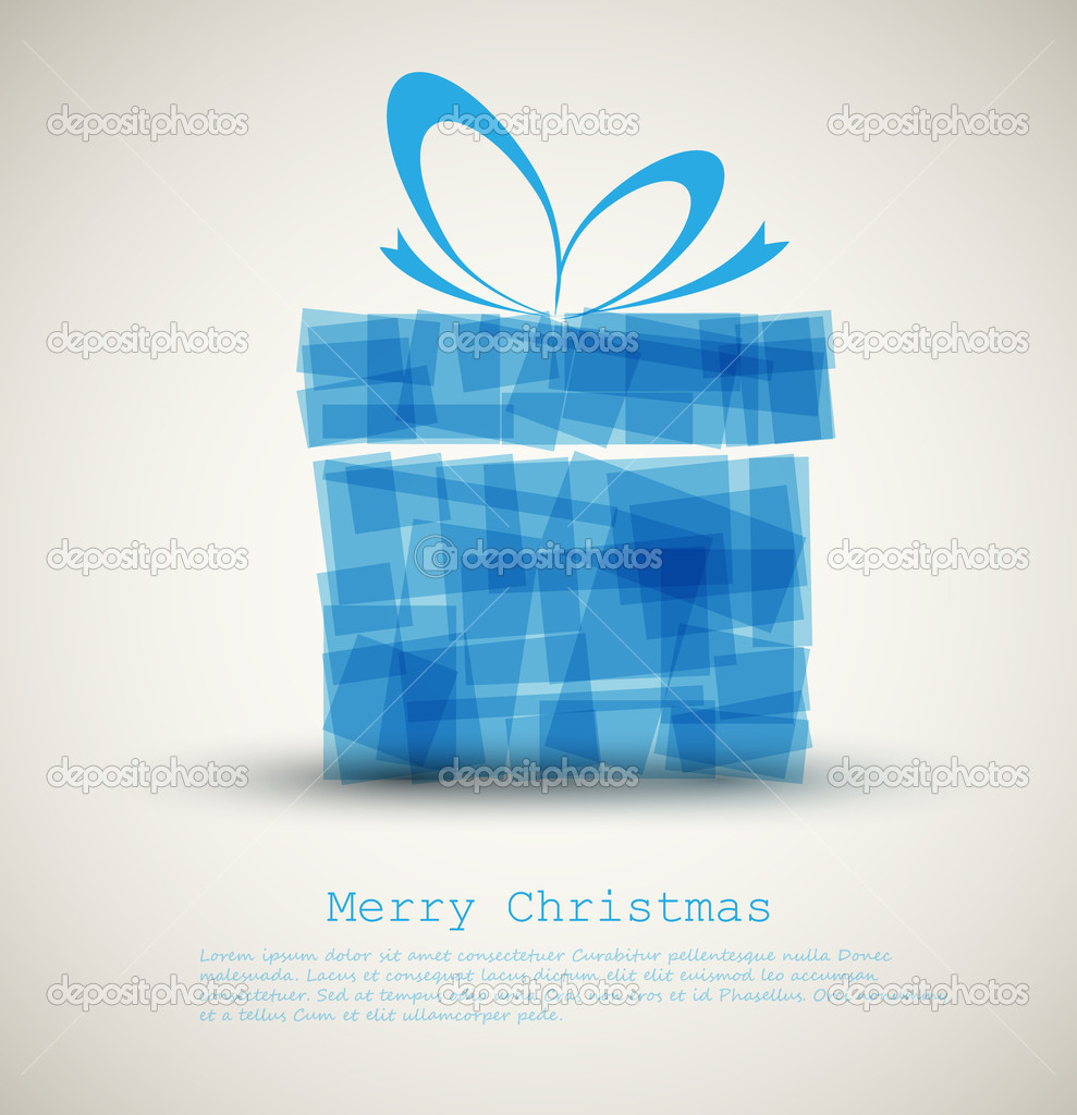 Simple Christmas card with a gift made from blue rectangles — Stock Vector #7595682