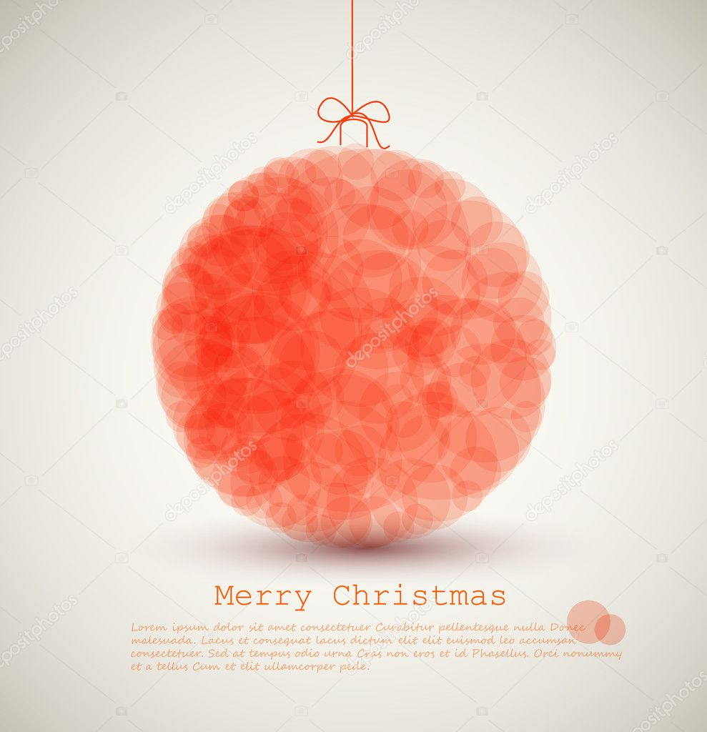 Vector modern card with abstract red christmas decoration on a light background — Stock Vector #7595725