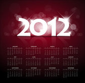 Red calendar for the new year 2012 with back light — Stock Vector