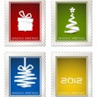 Collection of modern vector postage stamps — Stock Vector
