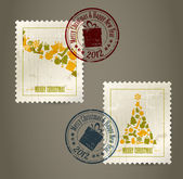 Collection of vector vintage postage stamps — Stock Vector